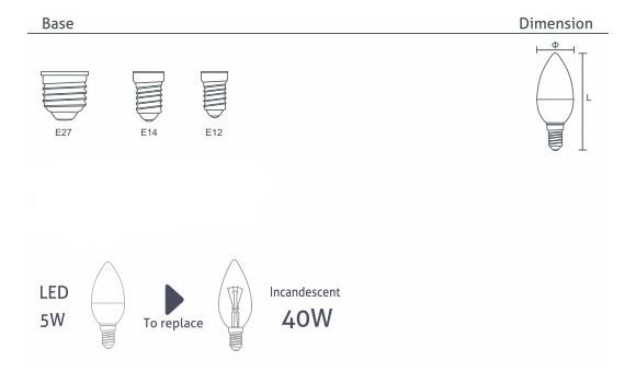 LED Candle Bulb C37