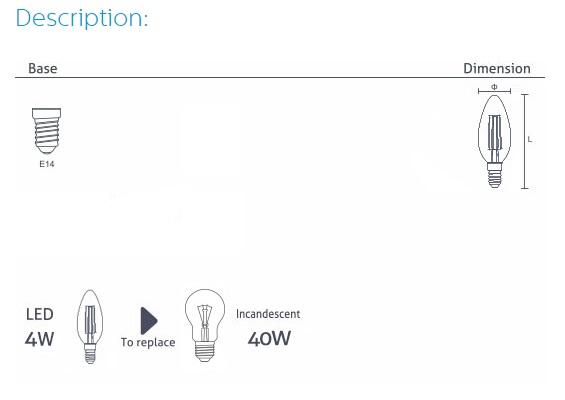 LED Filament Bulb C37