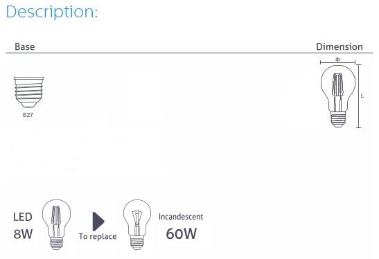 LED Filament Bulb A60